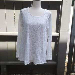 White lace and cotton blouse